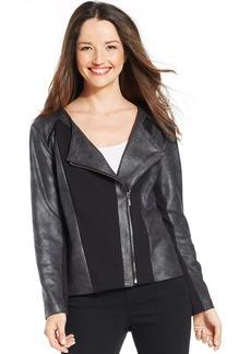 Style&co. Petite Coated Asymmetrical Moto Jacket