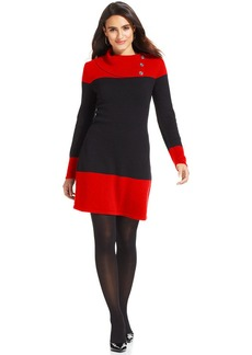Style&co. Petite Colorblock Ribbed-Knit Sweater Dress