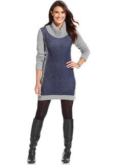 Style&co. Petite Colorblock Turtleneck Sweater Dress