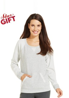 Style&co. Petite Contrast-Sleeve Pullover Sweatshirt