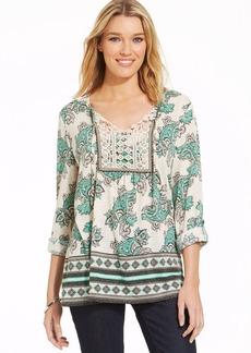 Style&co. Petite Crochet-Front Peasant Top