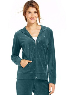 Style&co. Petite Embellished Zip-Front Velour Hoodie