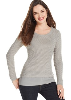 Style&co. Petite Long-Sleeve Chiffon-Hem Pullover