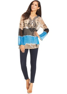 Style&co. Petite Long-Sleeve Colorblocked Embroidered Tunic