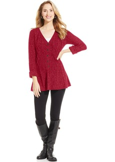 Style&co. Petite Marled Cable-Knit Cardigan