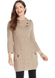 Style&co. Petite Marled Ribbed-Knit Sweater Tunic