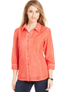Style&co. Petite Mineral Wash Button-Down Shirt