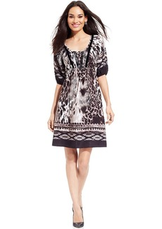 Style&co. Petite Mixed-Print A-Line Dress