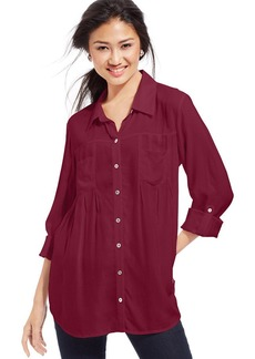 Style&co. Petite Pleated Button-Down Tunic