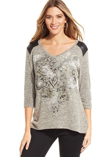 Style&co. Petite Pleather-Trim Studded Printed Top