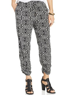 Style&co. Petite Printed Ruched Straight-Leg Pants