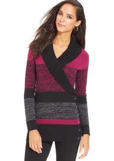 Style&co. Petite Shawl-Collar Lace-Up Colorblocked Tunic Sweater