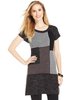 Style&co. Petite Short-Sleeve Patchwork Sweater Tunic