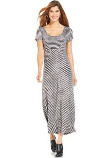 Style&co. Petite Short-Sleeve Striped Maxi Dress
