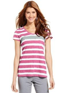 Style&co. Sport Petite Short-Sleeve Striped Tee