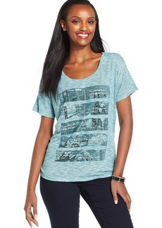 Style&co. Petite Short-Sleeve Studded Screen-Print Tee