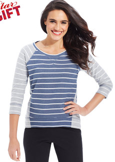 Style&co. Petite Striped French-Terry Pullover