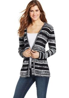 Style&co. Petite Striped Hooded Cardigan