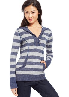 Style&co. Petite Striped Marled-Knit Hoodie