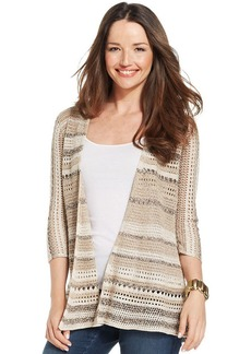 Style&co. Petite Striped Pointelle Cardigan