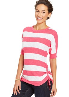 Style&co. Petite Striped Ruched Top
