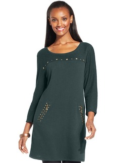 Style&co. Petite Studded Mixed-Textured Tunic
