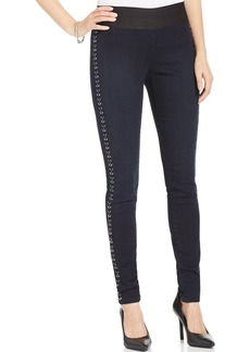 Style&co. Petite Studded Pull-On Skinny Jeans, Royal Wash