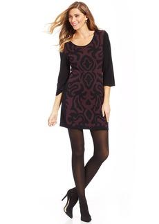 Style&co. Petite Three-Quarter-Sleeve Jacquard A-Line Dress