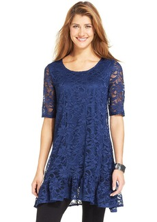 Style&co. Petite Three-Quarter-Sleeve Lace Tunic