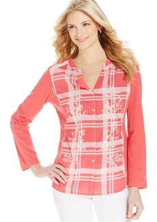 Style&co. Plaid Embroidered Button-Up Shirt