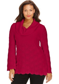 Style&co. Plus Cowl-Neck Pointelle-Knit Sweater
