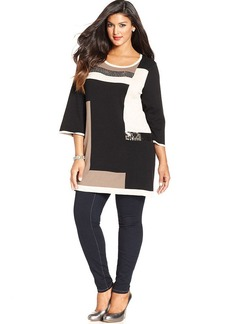 Style&co. Plus Size Colorblock Sequin Tunic