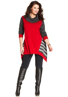Style&co. Plus Size Colorblocked Striped Tunic Sweater