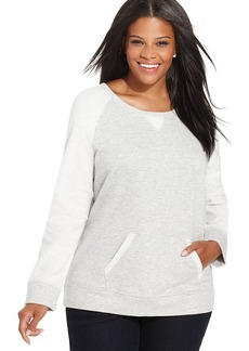 Style&co. Plus Size Contrast-Sleeve Pullover Sweatshirt