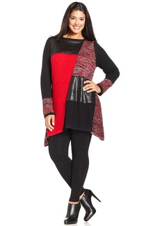 Style&co. Plus Size Faux Leather & Mixed Knit Tunic