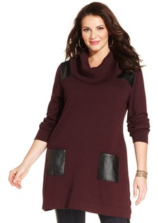 Style&co. Plus Size Faux-Leather-Trim Tunic Sweater
