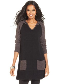 Style&co. Plus Size Hooded Colorblocked Sweater Tunic