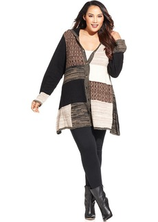 Style&co. Plus Size Hooded Patchwork Cardigan