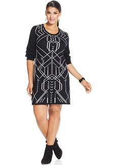 Style&co. Plus Size Long-Sleeve Printed Sheath Dress