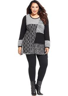 Style&co. Plus Size Mixed-Knit Tunic Sweater