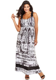 Style&co. Plus Size Printed Cutout Maxi Dress