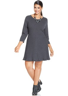 Style&co. Plus Size Ribbed-Knit Skater Dress