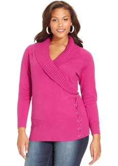 Style&co. Plus Size Shawl-Collar Lace-Up Sweater
