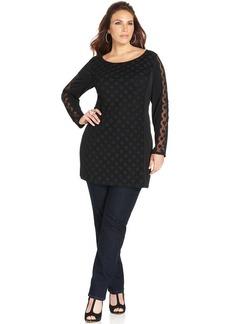 Style&co. Plus Size Sheer-Sleeve Dot-Print Tunic