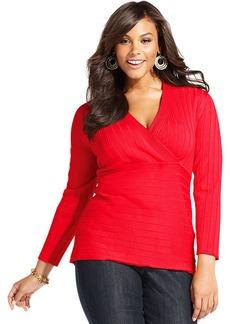 Style&co. Plus Size Surplice-Neck Sweater