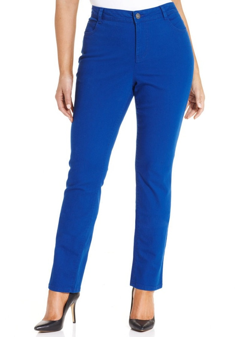A pair of plus size jeans from Style & Co are cropped and cuffed, then embellished with charming floral embroidery for a feminine finishing touch. read more. See at macys. CONNEXITY. Style & Co Style & Co Plus Size Embroidered Cropped Jeans, Created for Macy's - Blue 18W macys $ $