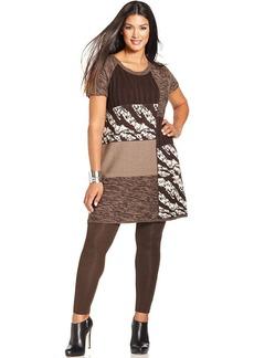 Style&co. Plus Size Zebra Patchwork Tunic Sweater