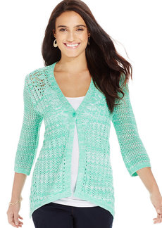Style&co. Pointelle One-Button Cardigan