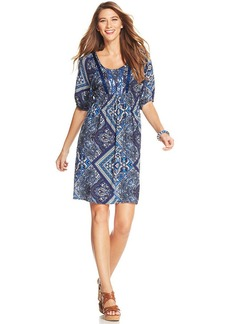 Style&co. Petite Printed Empire-Waist Dress