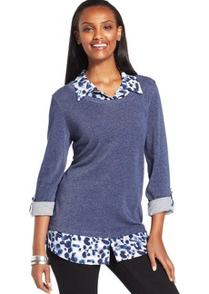 Style&co. Printed Point-Collar Layered Top